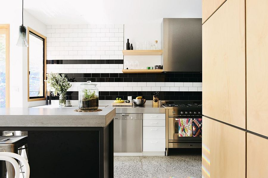 View In Gallery An Innovative Take On Adding Stripes To The Kitchen  Backsplash With Black And White Tiles [