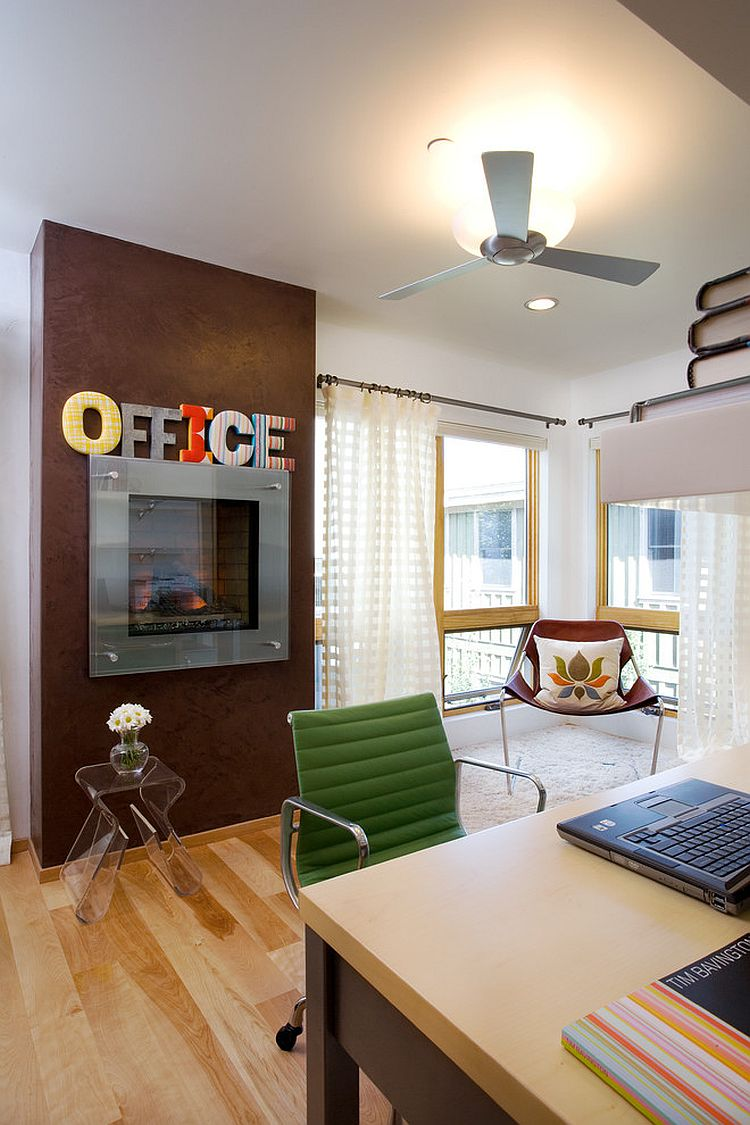 An interesting way to decorate the space above office fireplace [Design: Area Design]