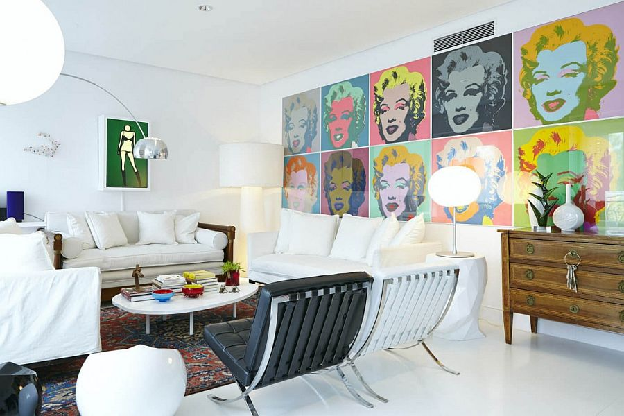Andy Warhol pop art enlivens the contemporary living room Eclectic Decor and Vivacious Color Shape Cheerful Home in Madrid
