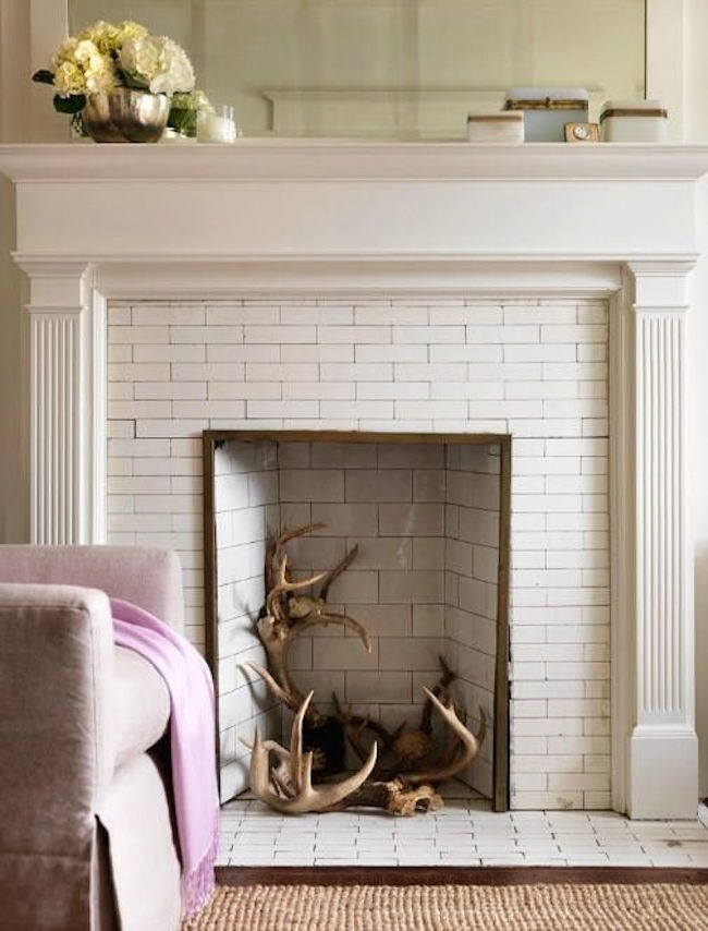 Antlers used in place of wood in fireplace