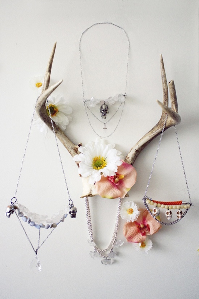 Antlers used to hold jewelry