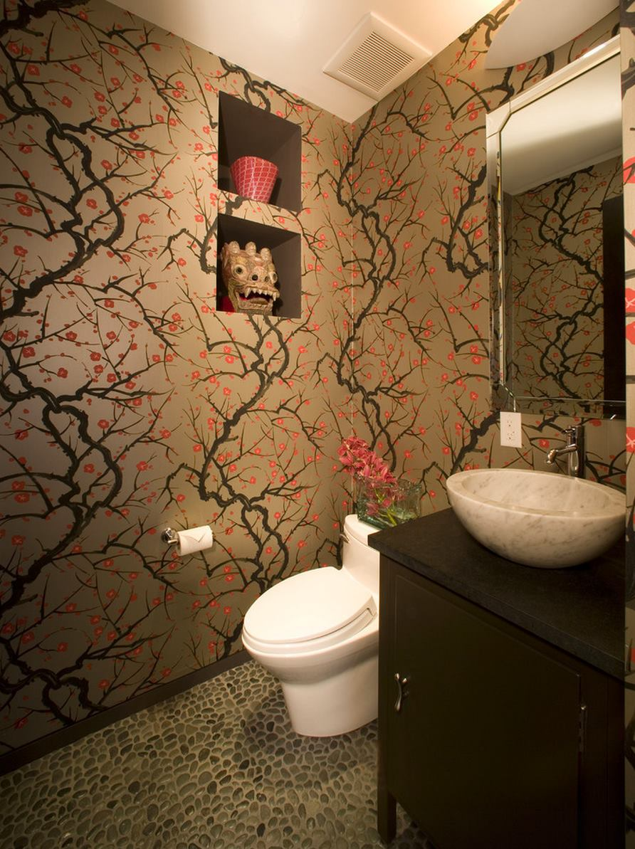 Asian flair in a bathroom with cherry blossom wallpaper