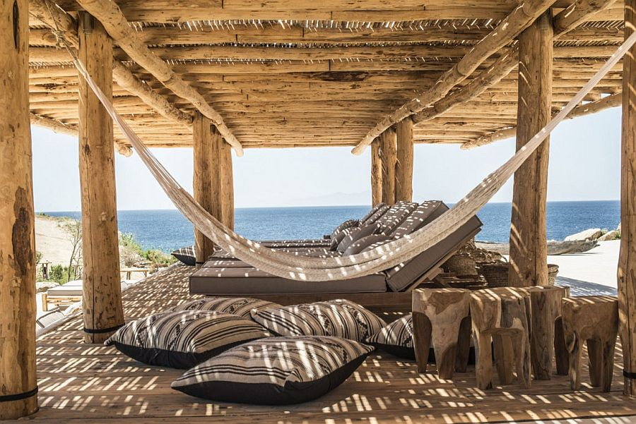 Awesome hammock hangout at the Greek retreat overlooing the sea