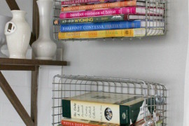 Baskets attached to walls as cookbook shelving  15 Unique Kitchen Ideas for Storing Cookbooks Baskets attached to walls as cookbook shelving 270x180