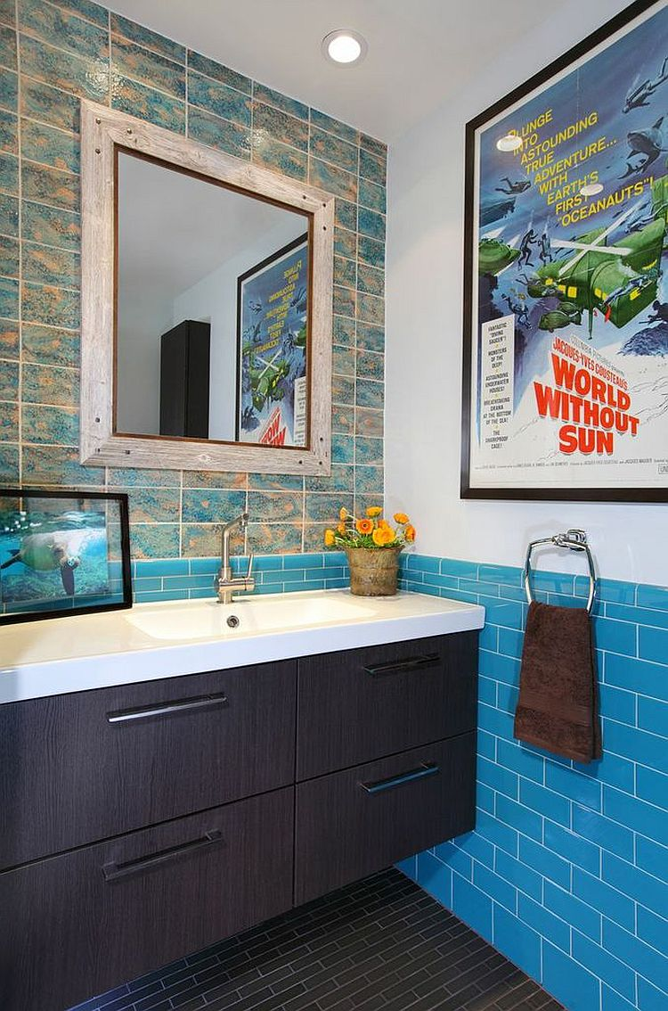 Bathroom walls come to life with a poster of documentary made by legendary oceanographer Jacques Cousteau!