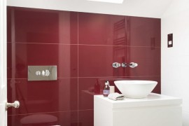 bathroom with brown and red tile - Big Tiles For Living Room