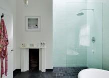 Bathroom with large floor tiles