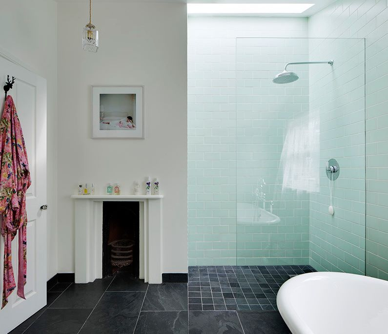 Bathroom with large floor tiles