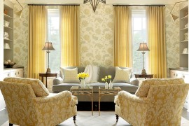 Beach style family room with twin coffee tables in gold leaf and glass  50 Fabulous Coffee Tables that Usher in a Golden Glint Beach style family room with twin coffee tables in gold leaf and glass 270x180