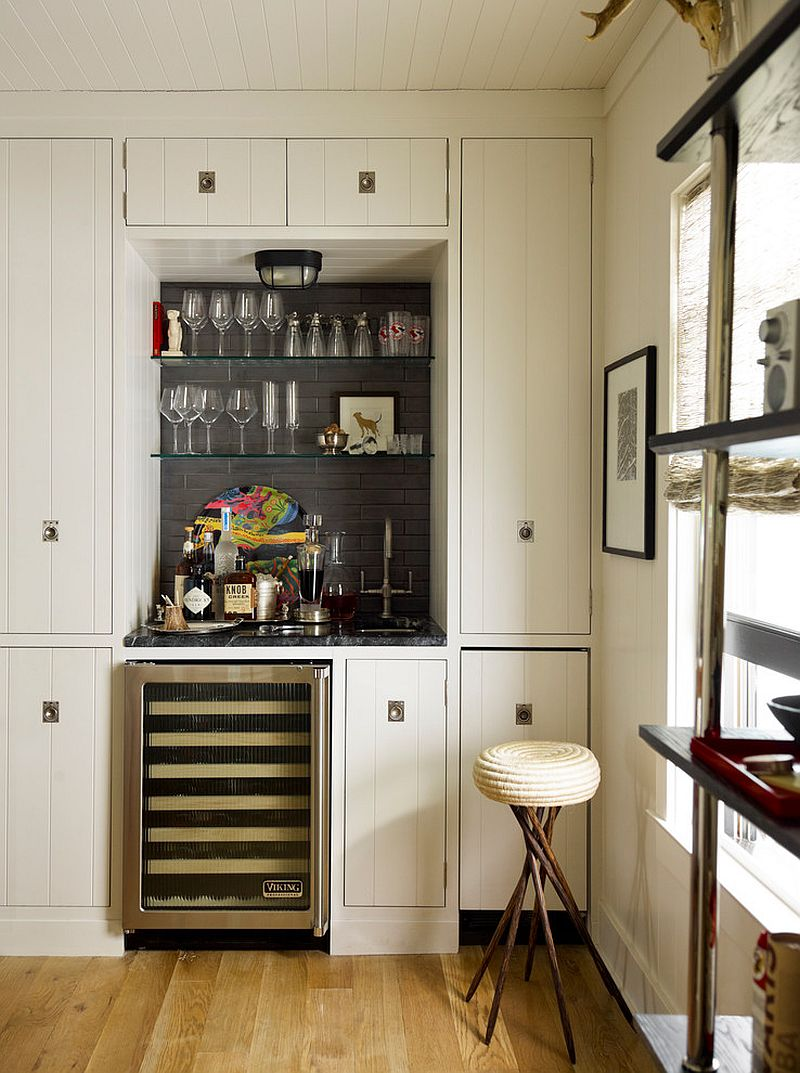 Beach style home bar makes use of corner space design thom filicia