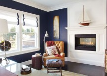 Beach style home office in navy blue and white [Design: Garrison Hullinger Interior Design]