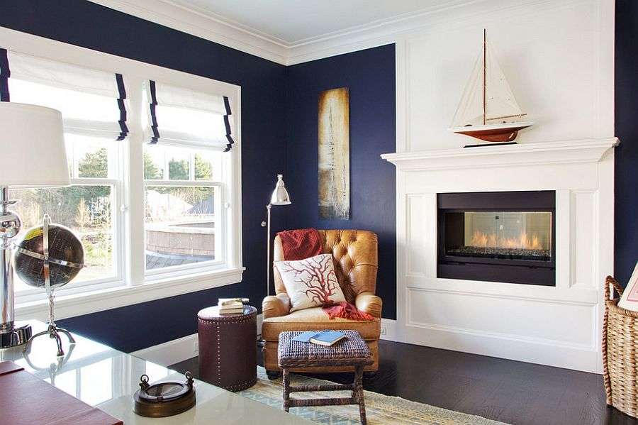 Beach Style Home Office In Navy Blue And White Design
