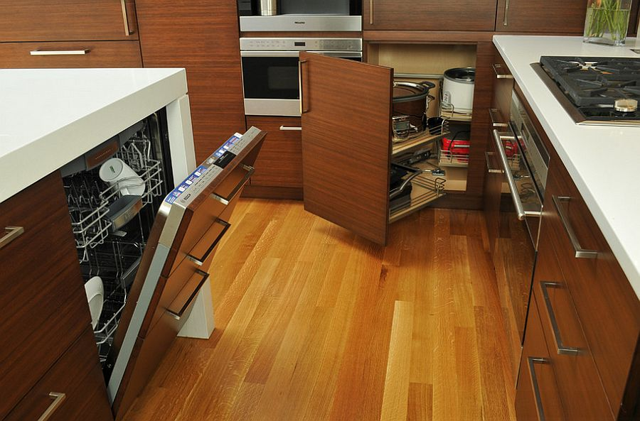 Beat those hard angles with smart kitchen pullout drawers [Design: The Kitchen Studio of Glen Ellyn]