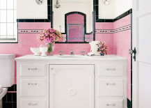 Beautiful and girly pink and black bathroom 217x155 Spectacularly Pink Bathrooms That Bring Retro Style Back