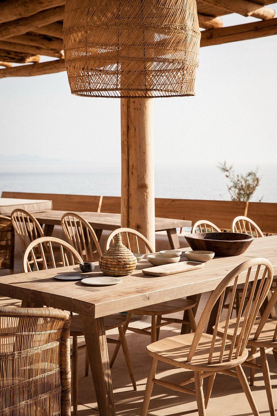 Beautiful outdoor Greek restaurant overlooking the sea