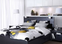 Bedding in black and white wit pops of yellow