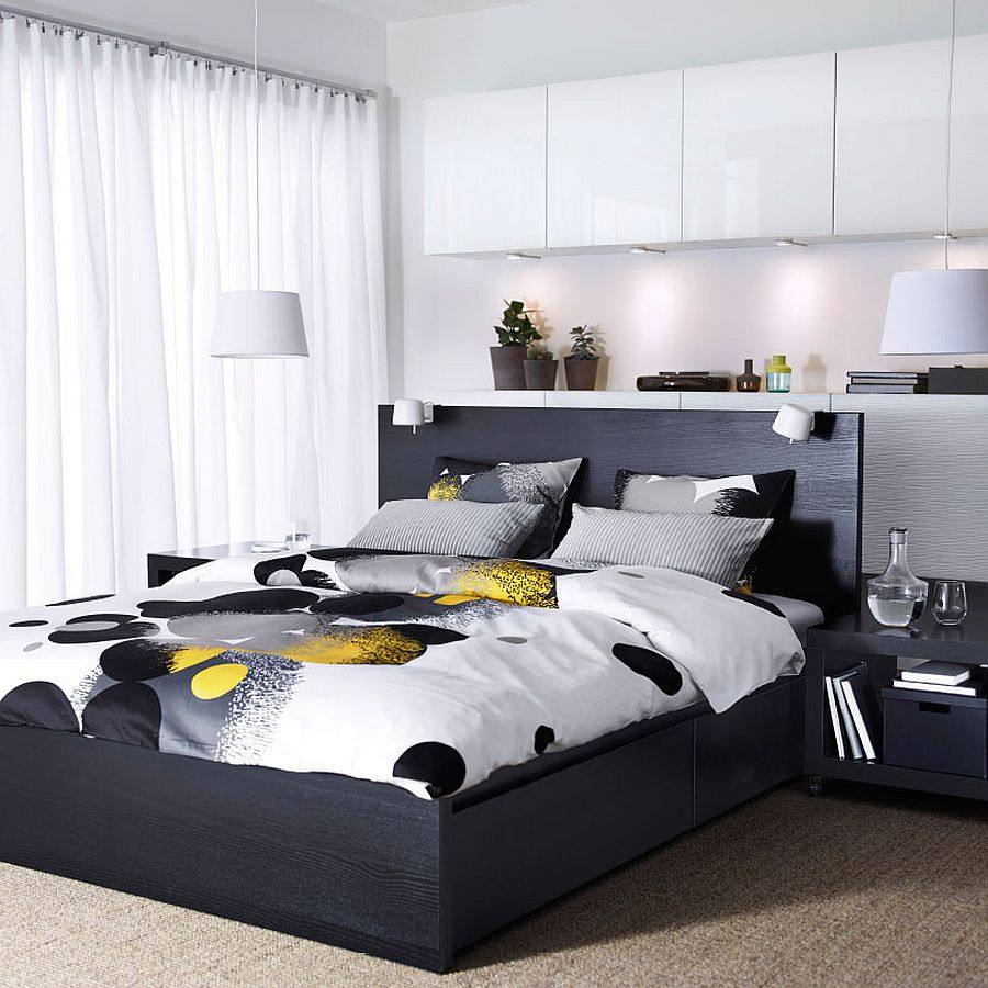 bedding in black and white wit pops of yellow - Yellow Bed Frame
