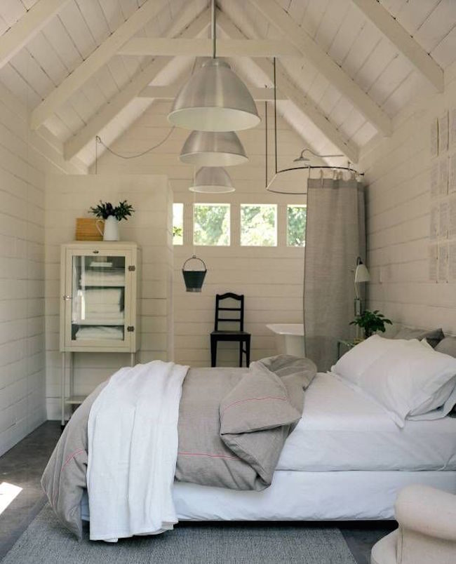 Bedroom and bathroom in an attic