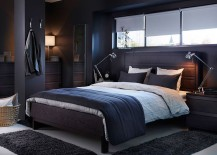 Bedroom with dark, moody look, matching bedframe ushers in a sense of sophistication