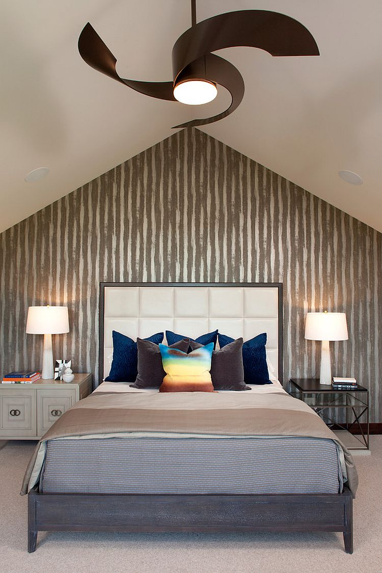 30 bedrooms that wow with mismatched nightstands for Bedroom ceiling fans