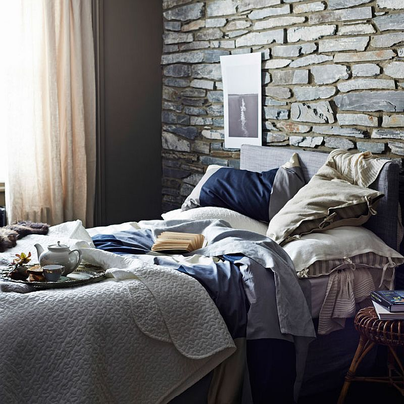 Bedspread and cushion covers bring dark beauty to the unique bedroom