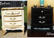 Black paint turns an old dresser into a chic, new piece