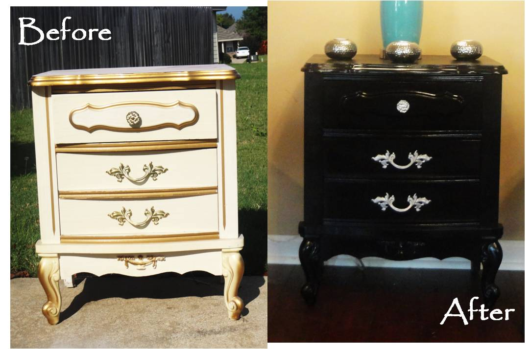 Black Paint Turns An Old Dresser Into A Chic New Piece