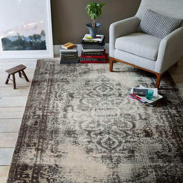 Steel and white arabesque rug from West Elm