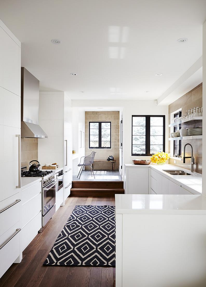 view in gallery black and white kilim rug in a modern kitchen. create drama with black carpets and rugs