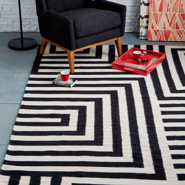 View In Gallery Black And White Maze Rug From West Elm