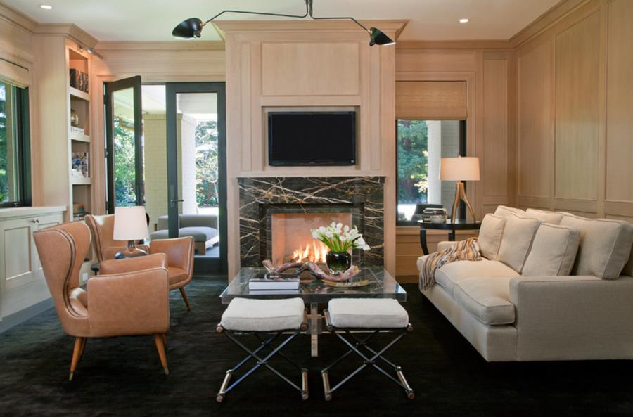 Black carpeting in a chic family room