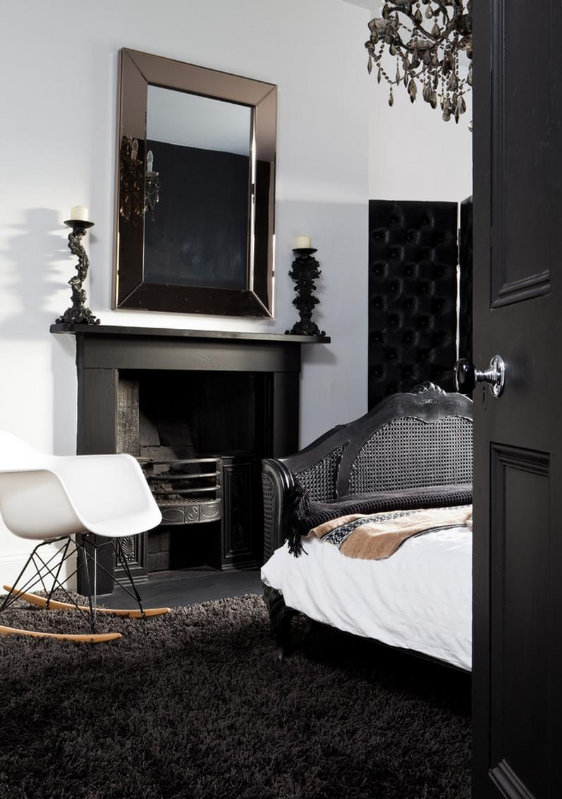 Black shag carpeting in an elegant bedroom