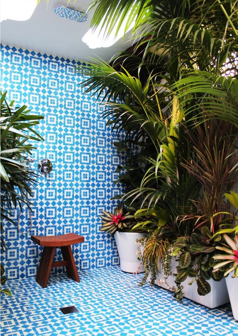 Blue and white tiled shower