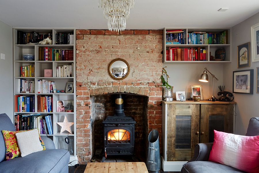 Brick alcove in the small eclectic living room for the fireplace [Design: Hart Design And Construction]