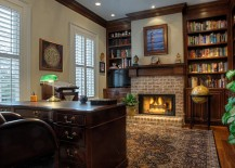 Brick fireplace in the home office is a classic that never fades away [Design: Suiter Construction Company]
