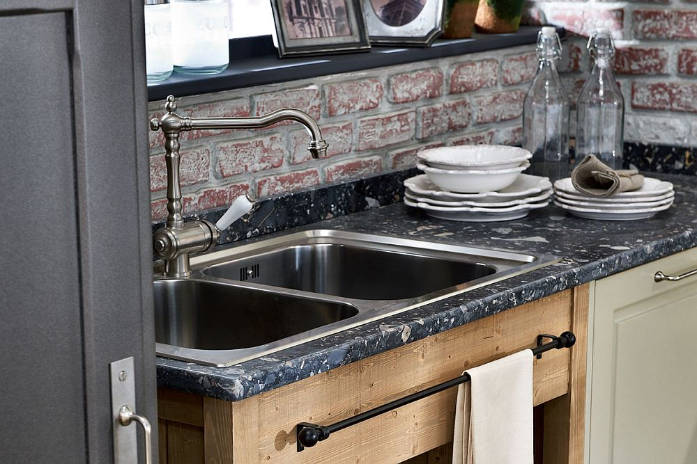 Brick wall and marble countertop for the modern vintage kitchen
