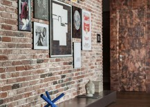 Brick wall turned into a creative gallery wall