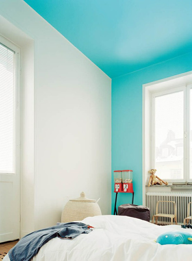 View in gallery Bright blue color blocking on one wall and ceiling. 22 Clever Color Blocking Paint Ideas to Make Your Walls Pop