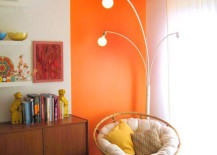 Bright orange reading nook that goes right up to the ceiling 217x155 22 Clever Color Blocking Paint Ideas to Make Your Walls Pop