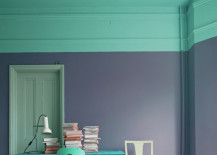 Bright teal and a darker shade of purple