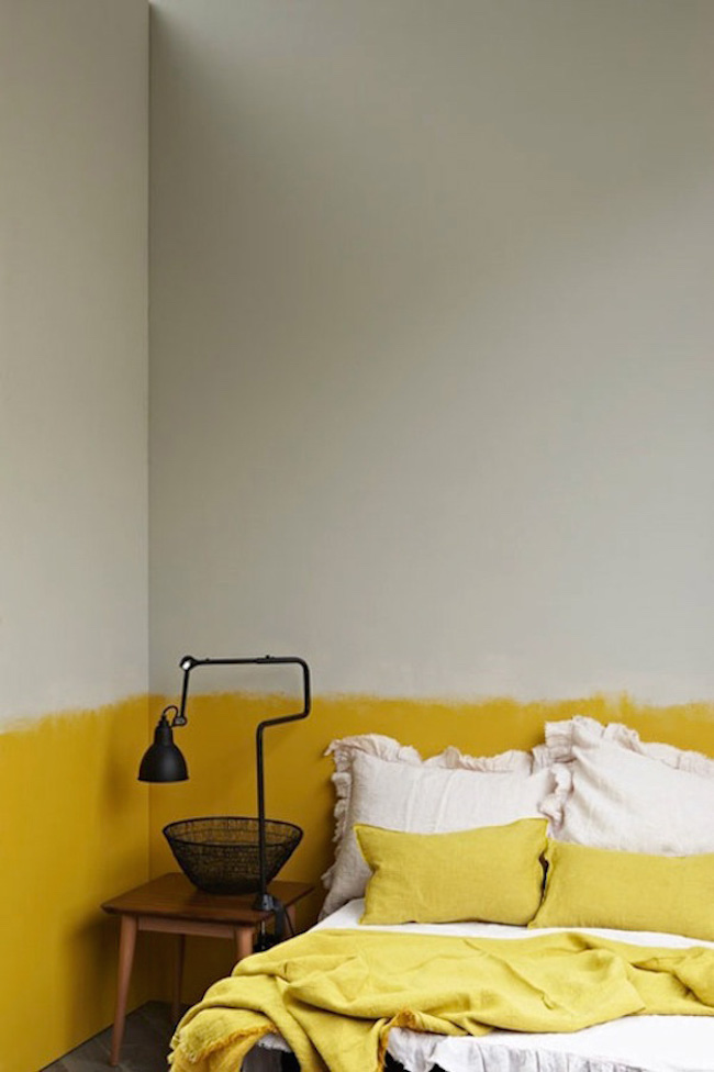 Bright yellow paint that goes without the straight edge