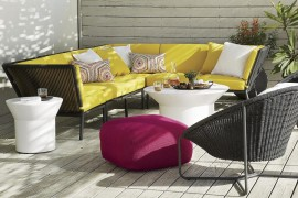 Bright yellow sofa from Crate & Barrel