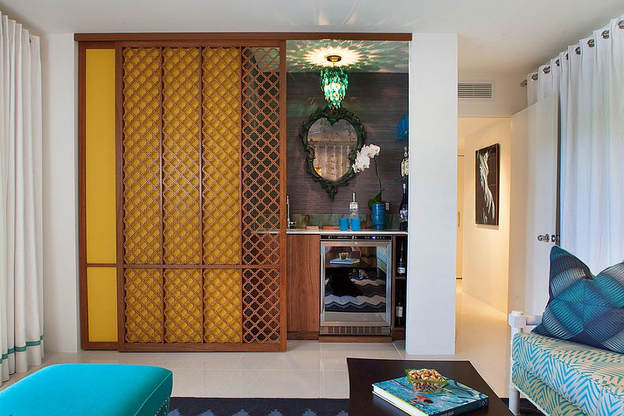 Built-in home bar in the family room with Moroccan flair {design: Joel Dessaules Design]