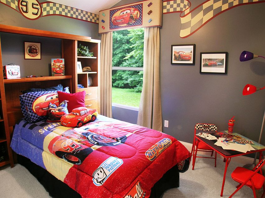 Cars movie theme sets the tone in this boys' bedroom [Design: Sisler Johnston Interior Design]