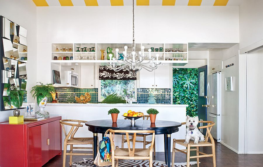 Ceiling with yellow and white stripes for the modern kitchen