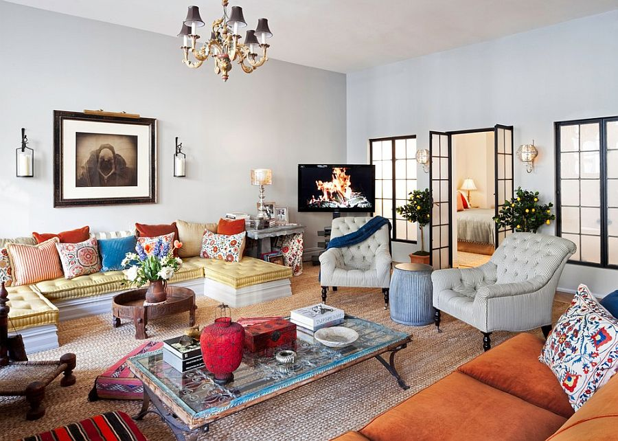 Cheerful living room of the New York City loft [Design: Deborah French Designs]