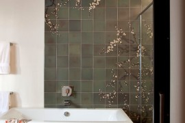 Cherry blossom mural in a modern bathroom