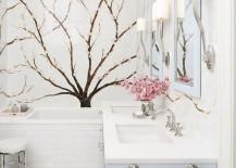 Cherry blossom tile mural in a crisp white bathroom