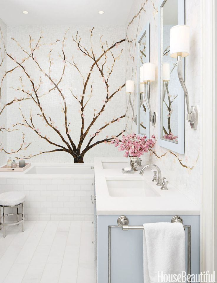 Cherry blossom tile mural in a crisp white bathroom