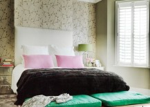 Cherry blossom wallpaper in a decadent bedroom